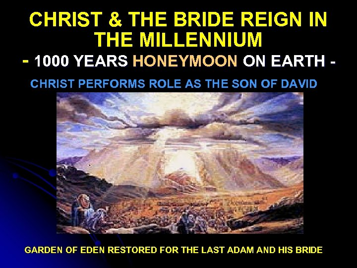 CHRIST & THE BRIDE REIGN IN THE MILLENNIUM - 1000 YEARS HONEYMOON ON EARTH