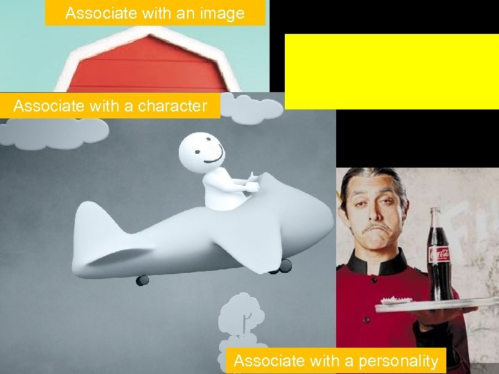 Associate with an image Associate with a character Associate with a personality