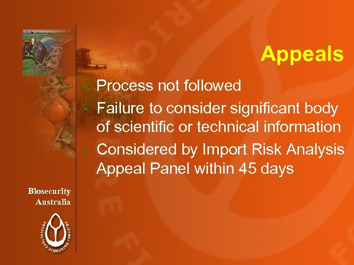 Appeals Process not followed • Failure to consider significant body of scientific or technical
