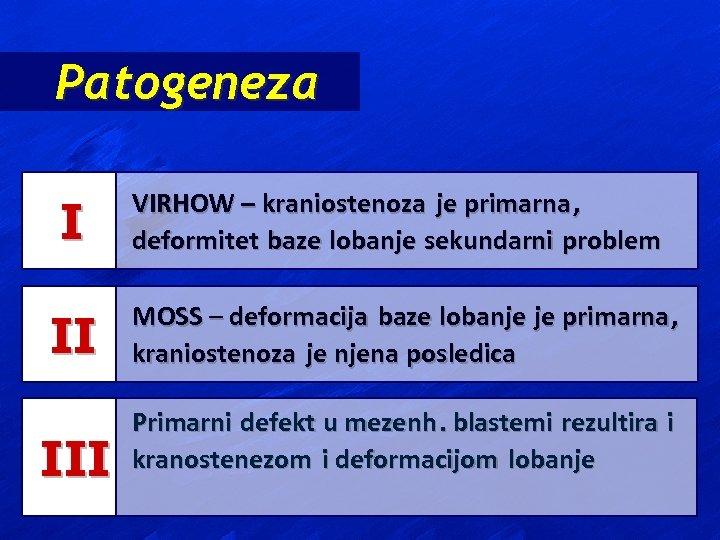 Patogeneza I VIRHOW – kraniostenoza je primarna , deformitet baze lobanje sekundarni problem II