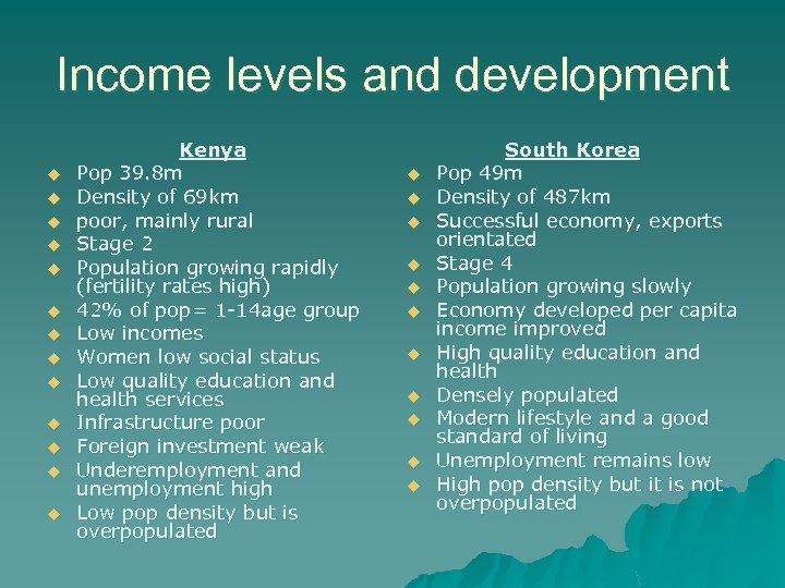 Income levels and development u u u u Kenya Pop 39. 8 m Density
