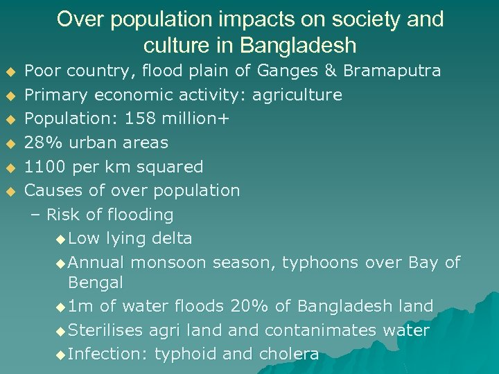 Over population impacts on society and culture in Bangladesh u u u Poor country,