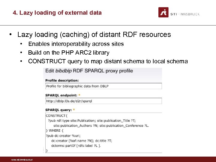 4. Lazy loading of external data • Lazy loading (caching) of distant RDF resources