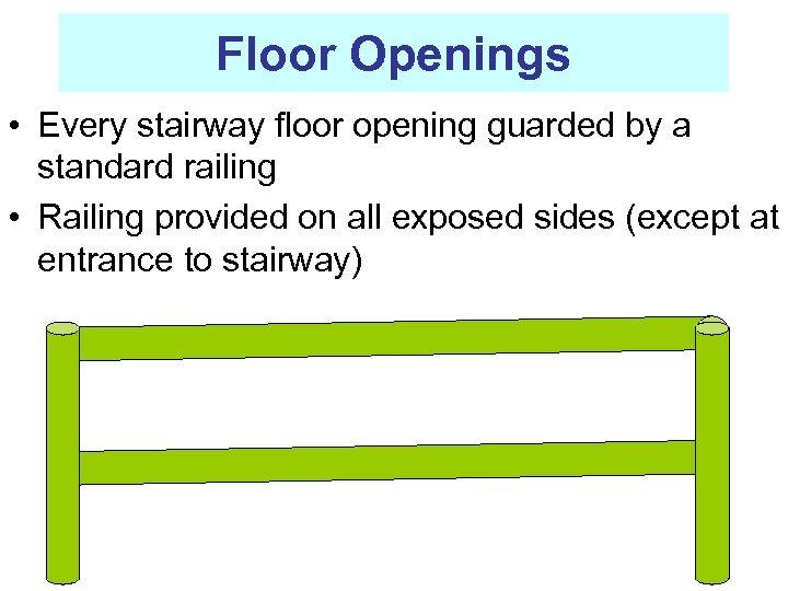 Floor Openings • Every stairway floor opening guarded by a standard railing • Railing