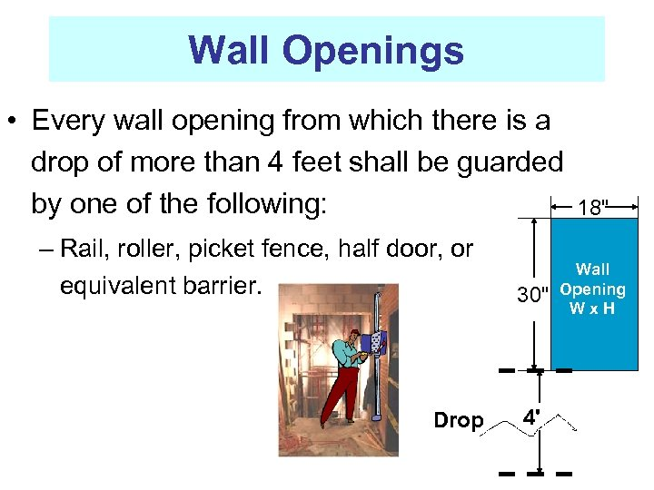 Wall Openings • Every wall opening from which there is a drop of more