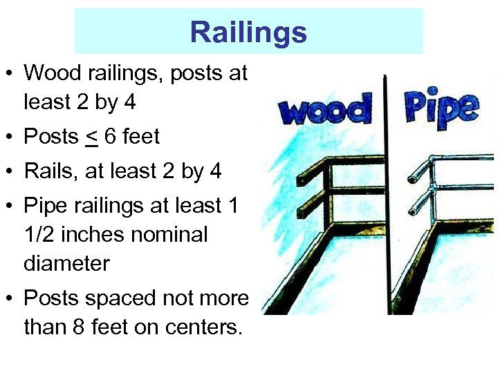Railings • Wood railings, posts at least 2 by 4 • Posts < 6