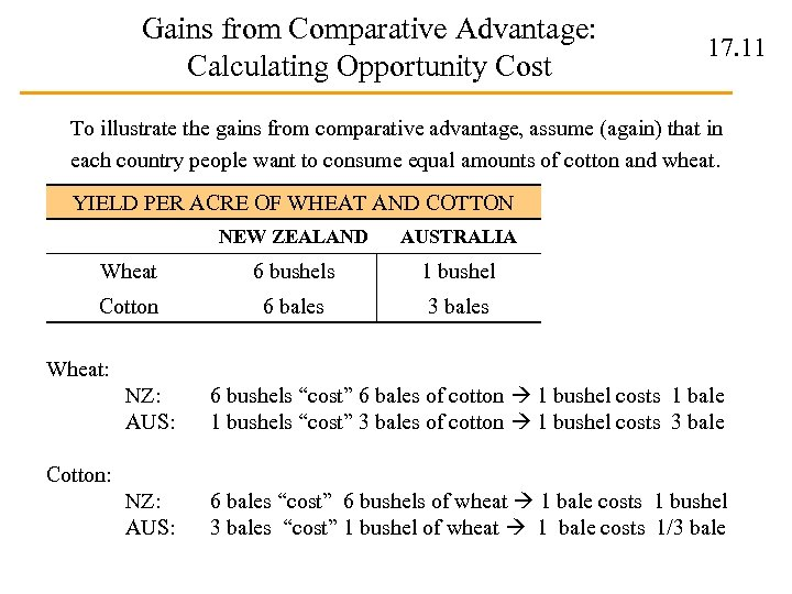 Gains from Comparative Advantage: Calculating Opportunity Cost 17. 11 To illustrate the gains from
