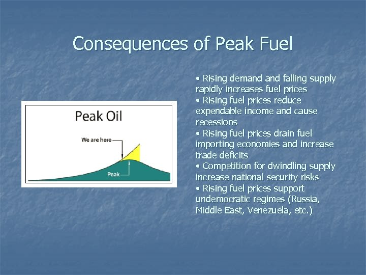 Consequences of Peak Fuel • Rising demand falling supply rapidly increases fuel prices •