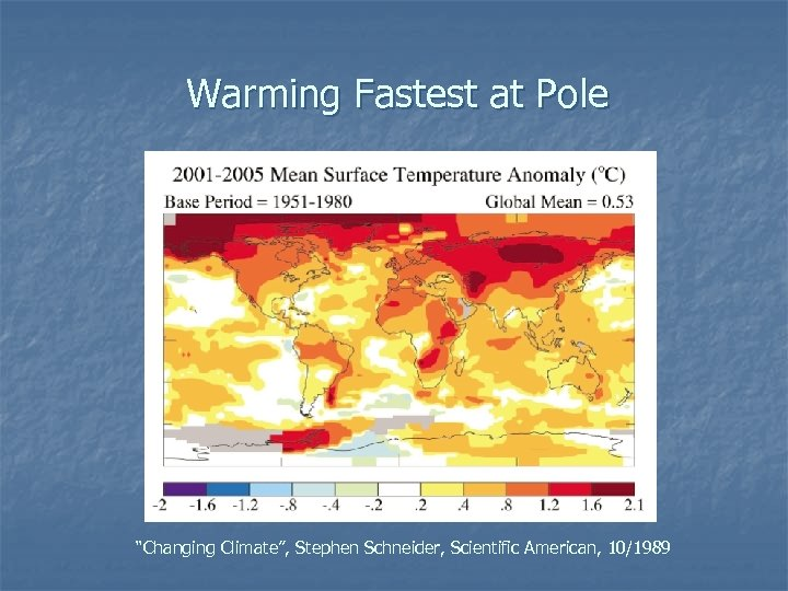 "Warming Fastest at Pole ""Changing Climate"", Stephen Schneider, Scientific American, 10/1989"