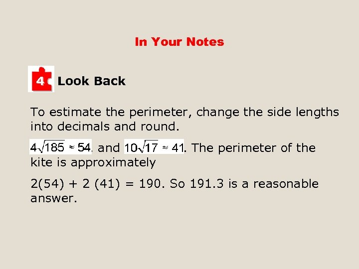 In Your Notes 4 Look Back To estimate the perimeter, change the side lengths