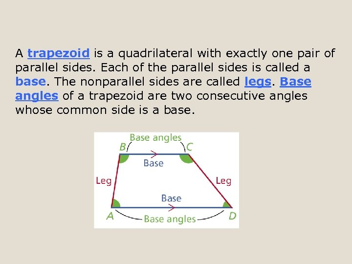 A trapezoid is a quadrilateral with exactly one pair of parallel sides. Each of