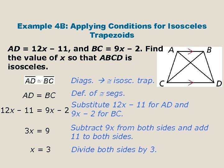 Example 4 B: Applying Conditions for Isosceles Trapezoids AD = 12 x – 11,