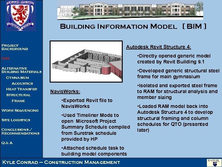 Building Information Model [ BIM ] Project Background Autodesk Revit Structure 4: • Directly