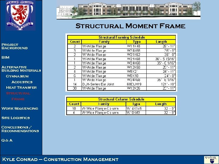 Structural Moment Frame Project Background BIM Alternative Building Materials Gymnasium Acoustics Heat Transfer Structural
