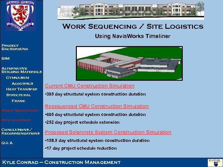 Work Sequencing / Site Logistics Using Navis. Works Timeliner Project Background BIM Alternative Building
