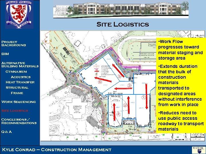 Site Logistics Project Background BIM Alternative Building Materials Gymnasium Acoustics Heat Transfer Structural Frame