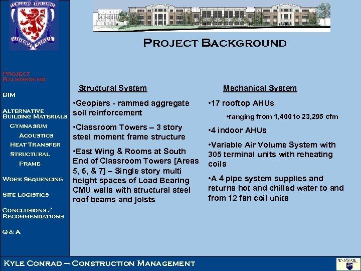 Project Background Structural System BIM Alternative Building Materials Gymnasium Acoustics Heat Transfer Structural Frame