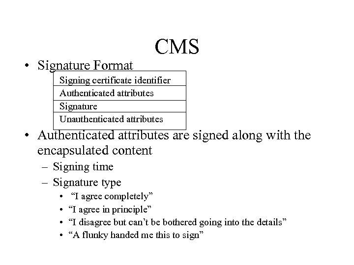 • Signature Format CMS Signing certificate identifier Authenticated attributes Signature Unauthenticated attributes •