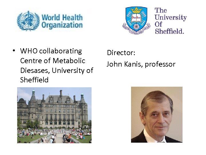• WHO collaborating Centre of Metabolic Diesases, University of Sheffield Director: John Kanis,