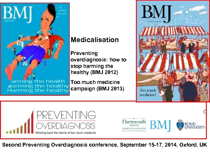 Medicalisation Preventing overdiagnosis: how to stop harming the healthy (BMJ 2012) Too much medicine