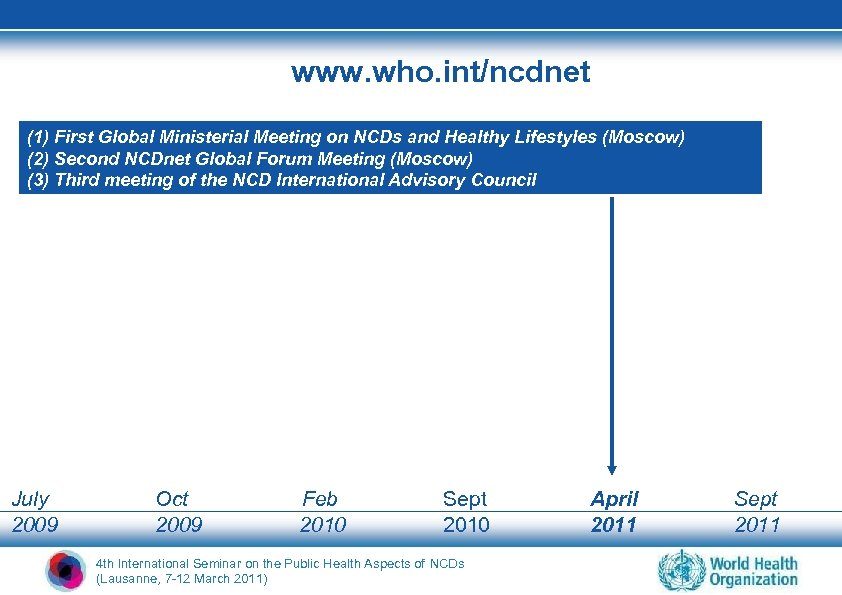 www. who. int/ncdnet (1) First Global Ministerial Meeting on NCDs and Healthy Lifestyles (Moscow)