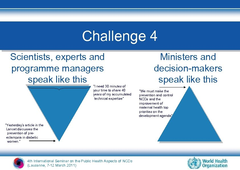 Challenge 4 Scientists, experts and programme managers speak like this