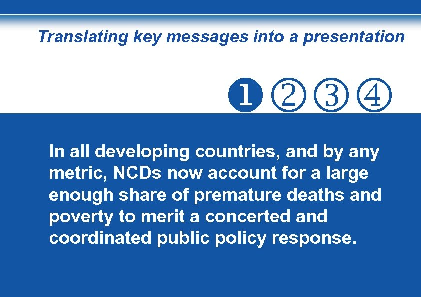 Translating key messages into a presentation In all developing countries, and by any metric,