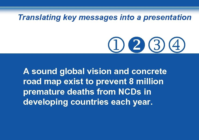 Translating key messages into a presentation A sound global vision and concrete road map