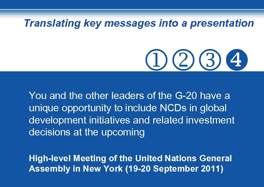 Translating key messages into a presentation You and the other leaders of the G-20