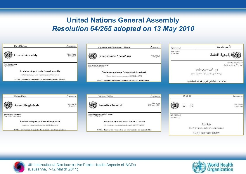United Nations General Assembly Resolution 64/265 adopted on 13 May 2010 4 th International