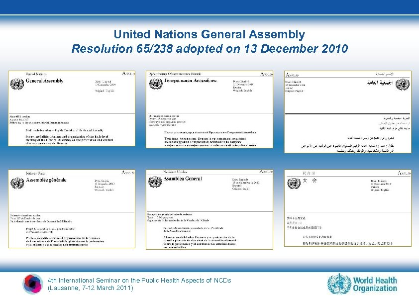 United Nations General Assembly Resolution 65/238 adopted on 13 December 2010 4 th International