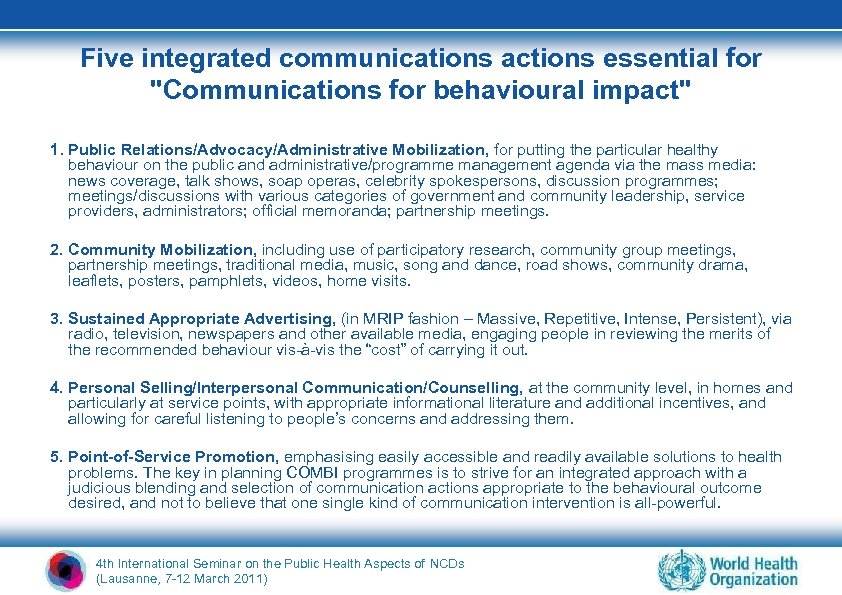 Five integrated communications actions essential for