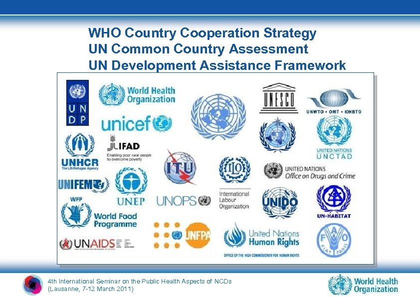 WHO Country Cooperation Strategy UN Common Country Assessment UN Development Assistance Framework 4 th
