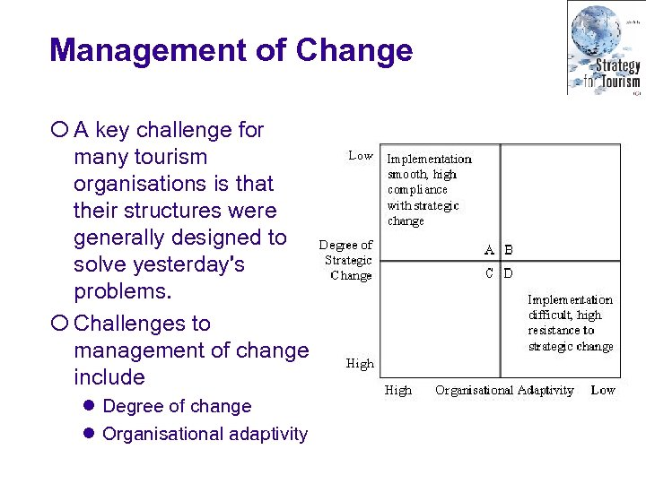 Management of Change ¡ A key challenge for many tourism organisations is that their