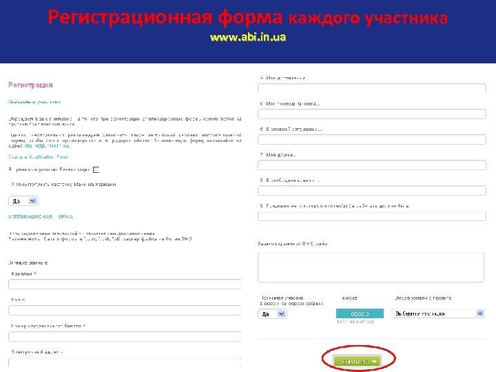 Регистрационная форма каждого участника www. abi. in. ua
