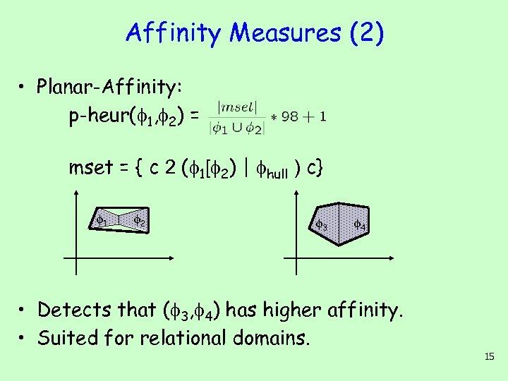 Affinity Measures (2) • Planar-Affinity: p-heur( 1, 2) = mset = { c 2