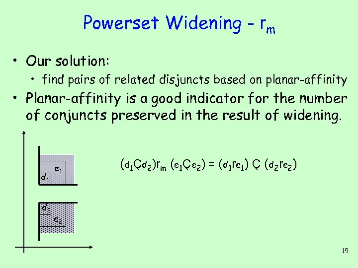 Powerset Widening - rm • Our solution: • find pairs of related disjuncts based