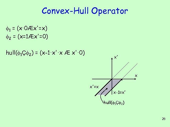 Convex-Hull Operator 1 = (x· 0Æx'=x) 2 = (x=1Æx'=0) hull( 1Ç 2) = (x-1·x'·x