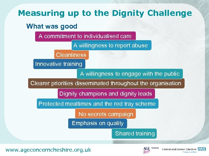 Measuring up to the Dignity Challenge What was good A commitment to individualised care