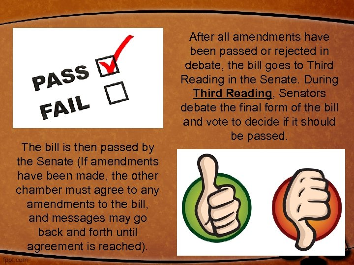 The bill is then passed by the Senate (If amendments have been made, the