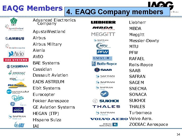 EAQG Members 4. EAQG Company members Advanced Electronics Company Agusta. Westland Airbus Military Alenia