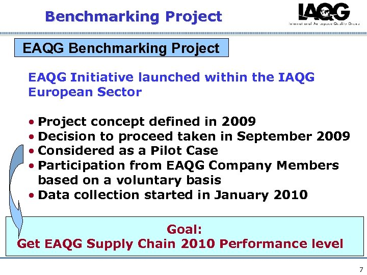 Benchmarking Project EAQG Initiative launched within the IAQG European Sector • Project concept defined