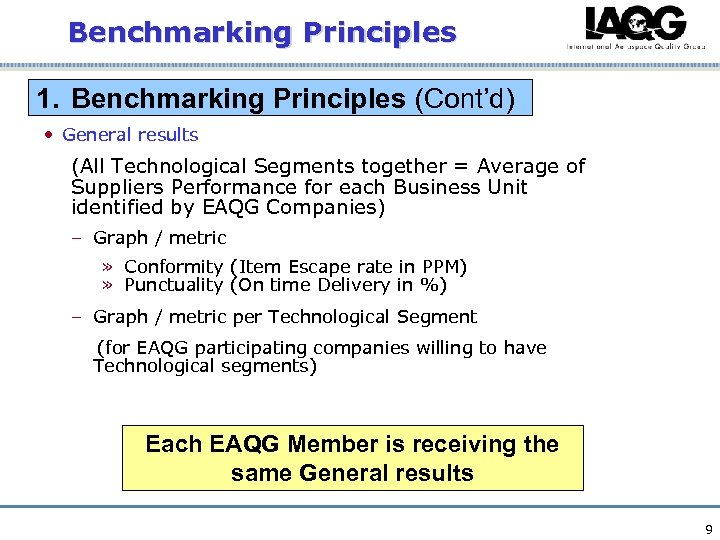 Benchmarking Principles 1. Benchmarking Principles (Cont'd) • General results (All Technological Segments together =
