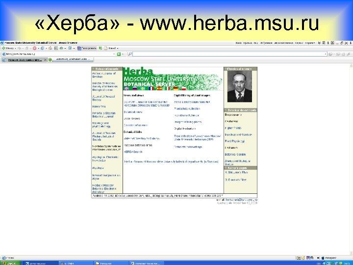 «Херба» - www. herba. msu. ru