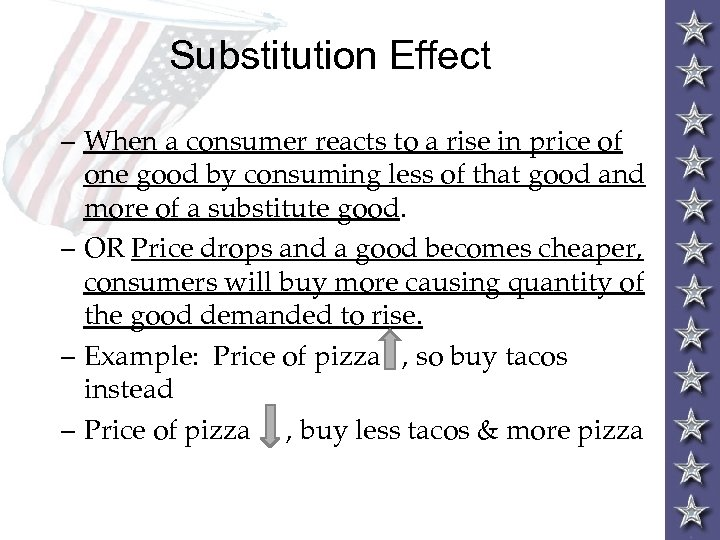 Substitution Effect – When a consumer reacts to a rise in price of one