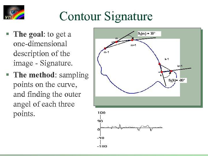 Contour Signature § The goal: to get a one-dimensional description of the image -