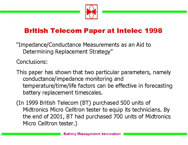 """British Telecom Paper at Intelec 1998 """"Impedance/Conductance Measurements as an Aid to Determining Replacement"""