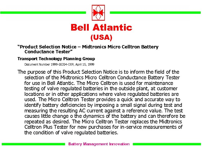 """Bell Atlantic (USA) """"Product Selection Notice – Midtronics Micro Celltron Battery Conductance Tester"""" Transport"""
