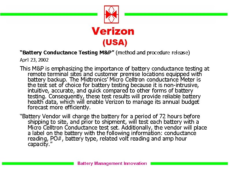 """Verizon (USA) """"Battery Conductance Testing M&P"""" (method and procedure release) April 23, 2002 This"""