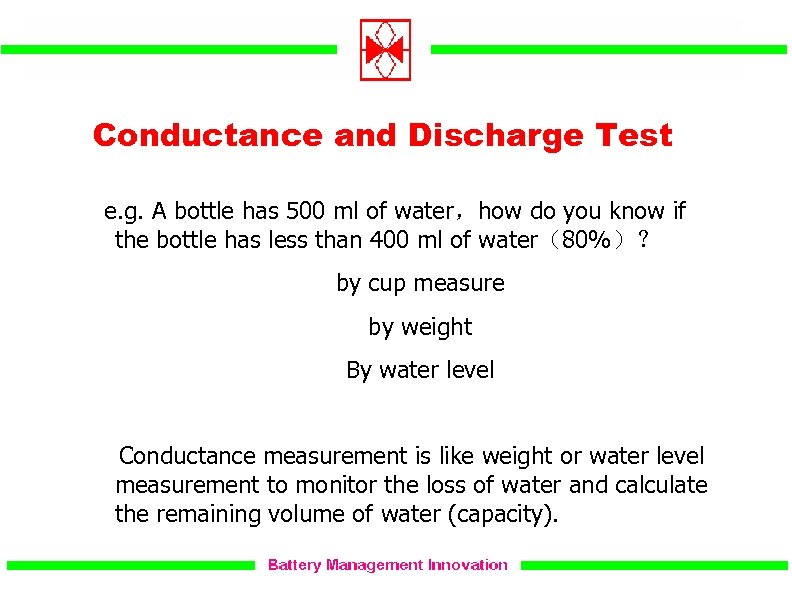 Conductance and Discharge Test e. g. A bottle has 500 ml of water,how do